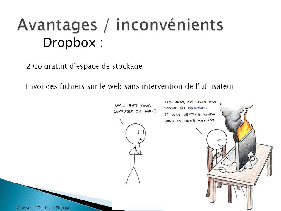 Chosson / Delrieu / Thibaut Dropbox : Dropbox envoi une version allégée de la photo Lapplication Dropbox (smartphone) ne récupère pas automatiquement les fichiers Installation de Dropbox obligatoire pour stocker et pour recevoir 02/10/2013