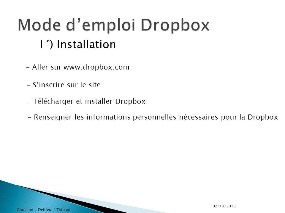 Chosson / Delrieu / Thibaut II °) Utilisation -Créer un répertoire -Partager les fichiers souhaités -Envoyer un mail pour inviter les personnes souhaitée à rejoindre la dropbox 02/10/2013