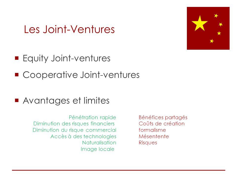 Equity Joint-ventures Cooperative Joint-ventures Avantages et limites Pénétration rapide Diminution des risques financiers Diminution du risque commer