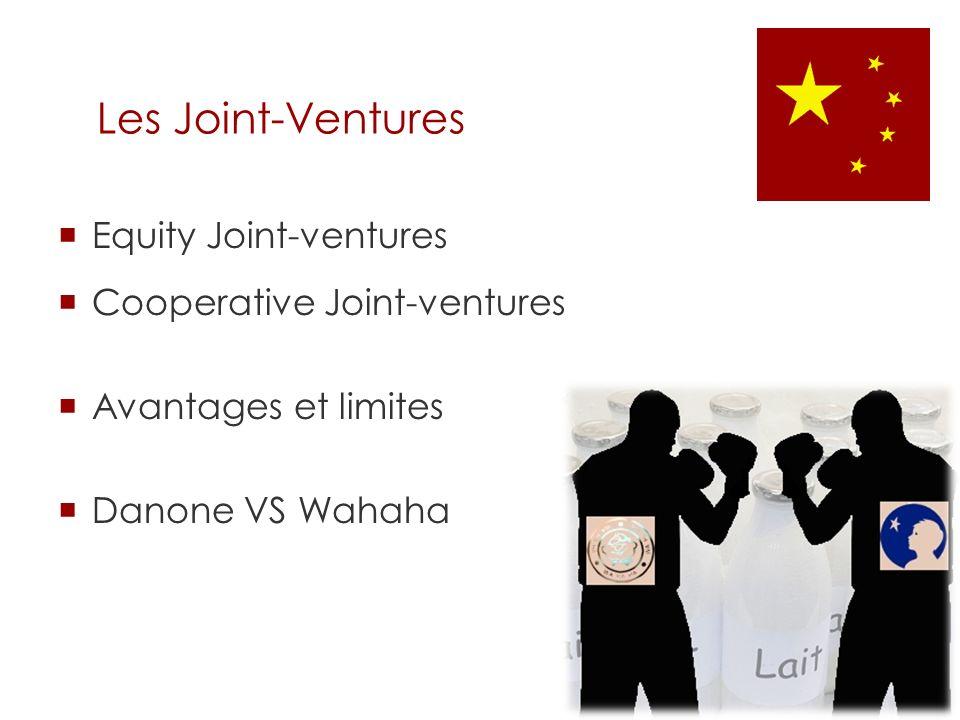 Equity Joint-ventures Cooperative Joint-ventures Avantages et limites Danone VS Wahaha Les Joint-Ventures