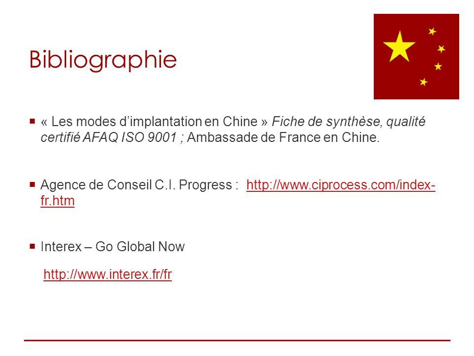« Les modes dimplantation en Chine » Fiche de synthèse, qualité certifié AFAQ ISO 9001 ; Ambassade de France en Chine. Agence de Conseil C.I. Progress