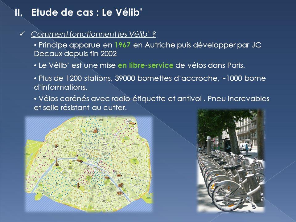 II. Etude de cas : Le Vélib Comment fonctionnent les Vélib .