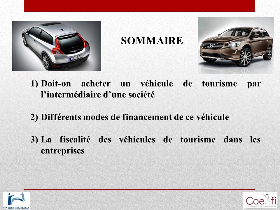 SOMMAIRE 1)Doit-on acheter un véhicule de tourisme par lintermédiaire dune société 2)Différents modes de financement de ce véhicule 3)La fiscalité des