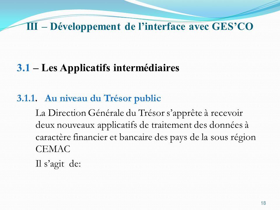 III – Développement de linterface avec GESCO 3.1 – Les Applicatifs intermédiaires 3.1.1.Au niveau du Trésor public La Direction Générale du Trésor sap