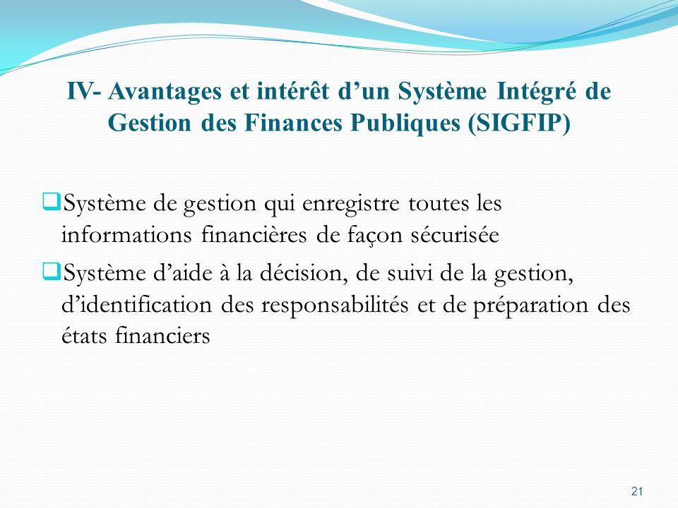 IV- Avantages et intérêt dun Système Intégré de Gestion des Finances Publiques (SIGFIP) Système de gestion qui enregistre toutes les informations fina