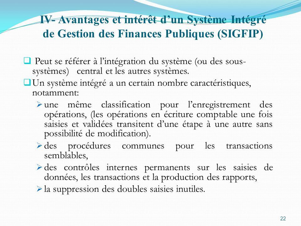 IV- Avantages et intérêt dun Système Intégré de Gestion des Finances Publiques (SIGFIP) Peut se référer à lintégration du système (ou des sous- systèm