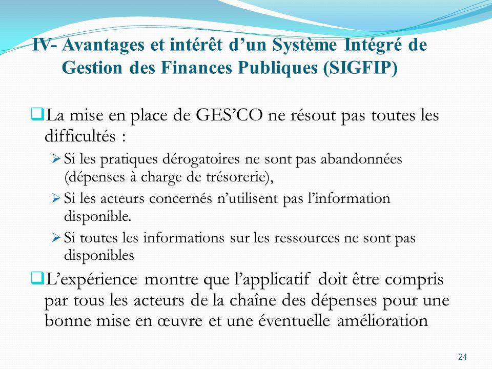 IV- Avantages et intérêt dun Système Intégré de Gestion des Finances Publiques (SIGFIP) La mise en place de GESCO ne résout pas toutes les difficultés