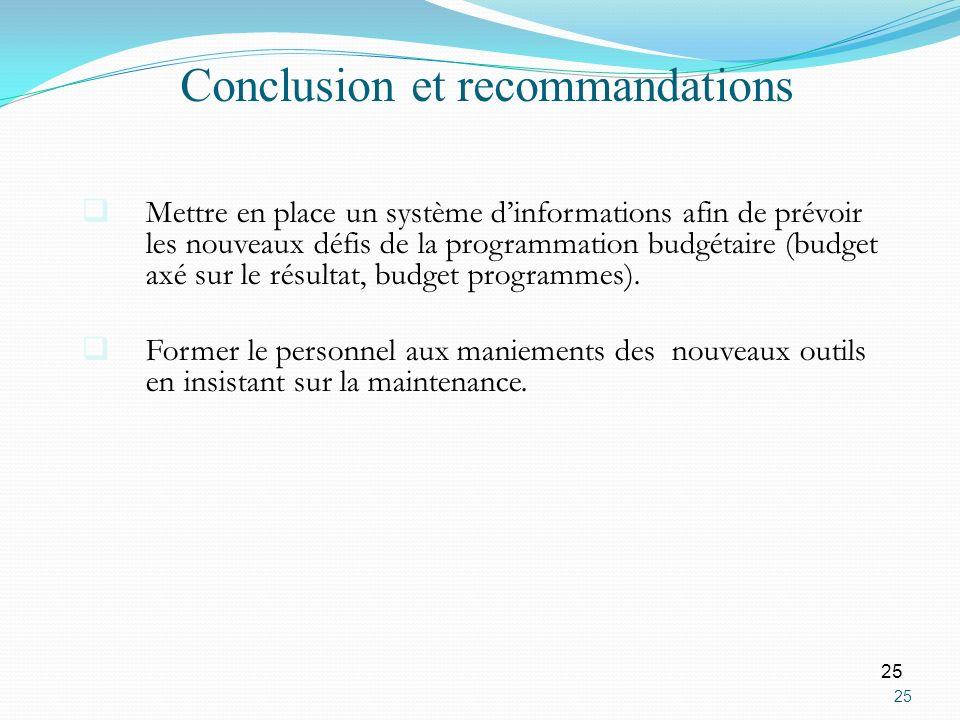 25 Mettre en place un système dinformations afin de prévoir les nouveaux défis de la programmation budgétaire (budget axé sur le résultat, budget prog