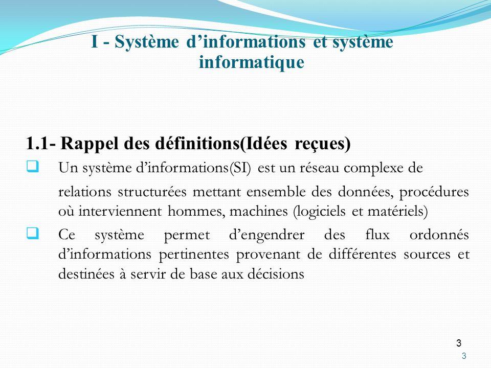 3 3 1.1- Rappel des définitions(Idées reçues) Un système dinformations(SI) est un réseau complexe de relations structurées mettant ensemble des donnée
