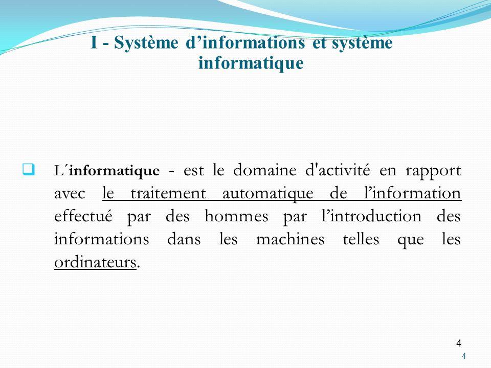 4 4 L´informatique - est le domaine d'activité en rapport avec le traitement automatique de linformation effectué par des hommes par lintroduction des