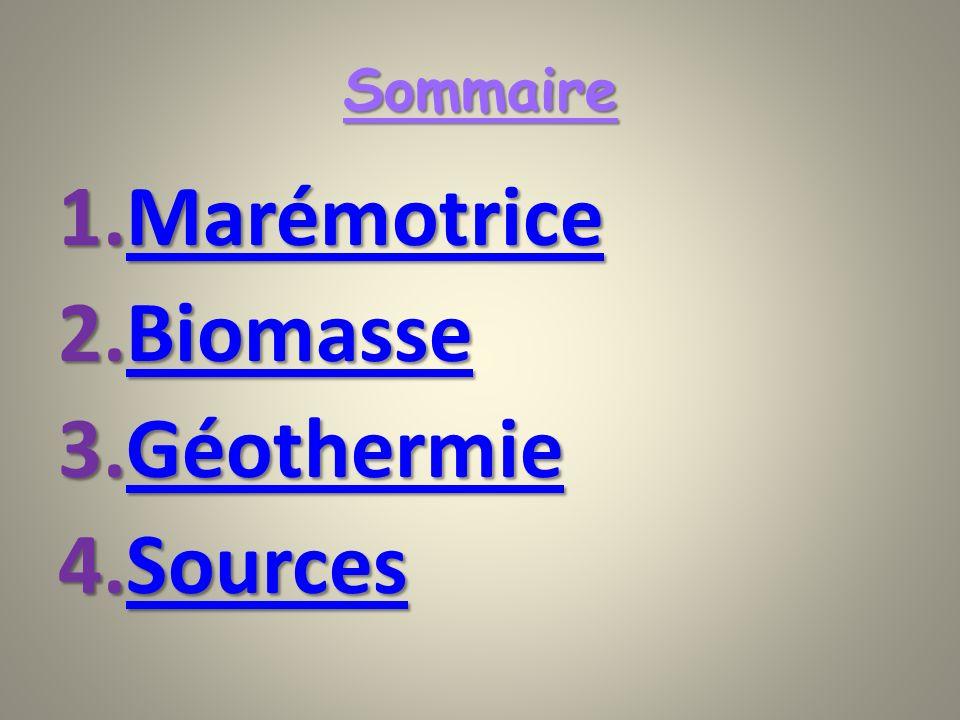 Sommaire 1.Marémotrice Marémotrice 2.Biomasse Biomasse 3.Géothermie Géothermie 4.Sources Sources