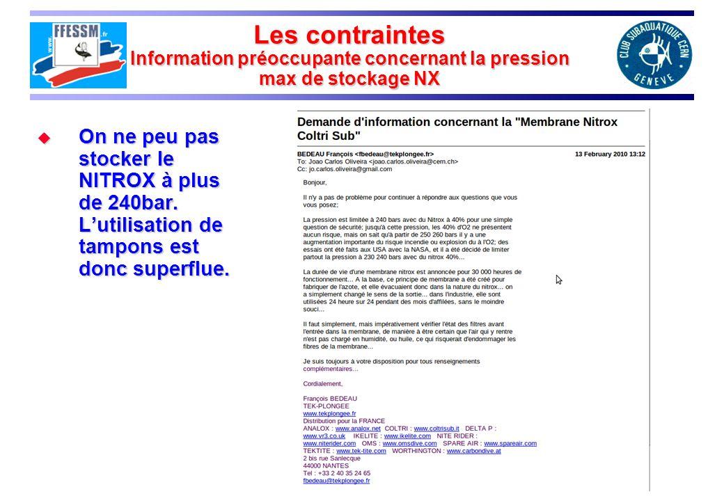 Les contraintes Information préoccupante concernant la pression max de stockage NX On ne peu pas stocker le NITROX à plus de 240bar. Lutilisation de t