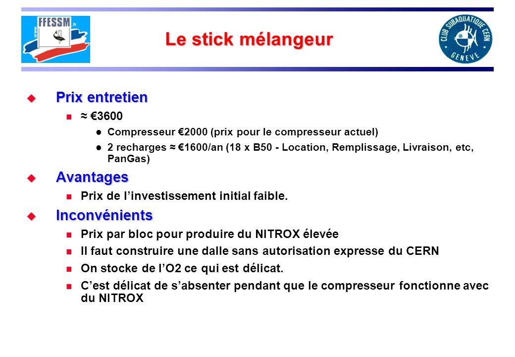 Le stick mélangeur Prix entretien Prix entretien 3600 Compresseur 2000 (prix pour le compresseur actuel) 2 recharges 1600/an (18 x B50 - Location, Rem