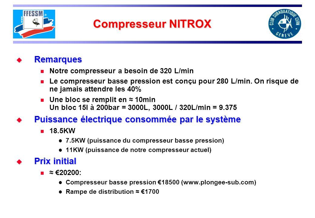 Compresseur NITROX Remarques Remarques Notre compresseur a besoin de 320 L/min Le compresseur basse pression est conçu pour 280 L/min. On risque de ne