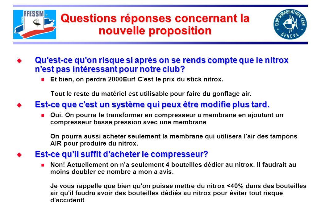 Questions réponses concernant la nouvelle proposition Qu'est-ce qu'on risque si après on se rends compte que le nitrox n'est pas intéressant pour notr