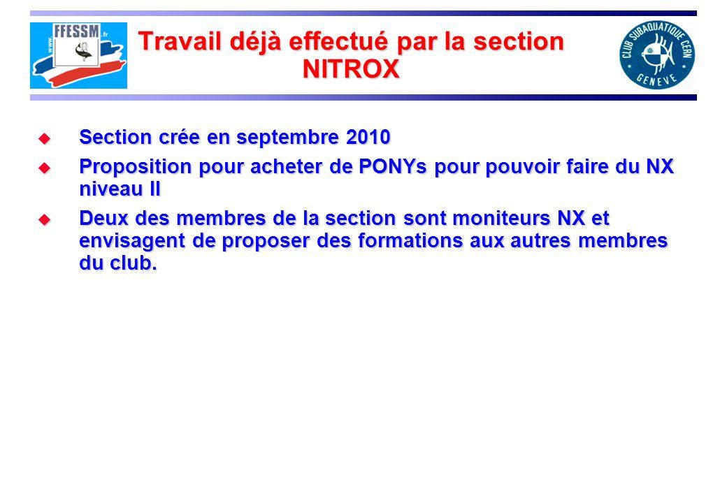 Travail déjà effectué par la section NITROX Section crée en septembre 2010 Section crée en septembre 2010 Proposition pour acheter de PONYs pour pouvo
