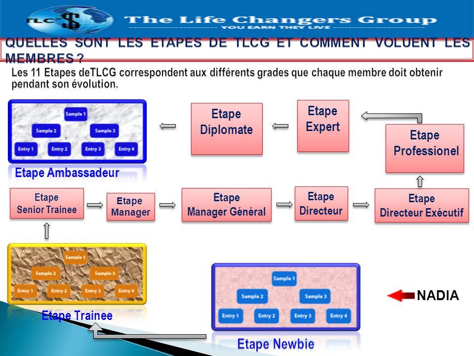 NADIA Etape Trainee Etape Senior Trainee Etape Manager Etape Manager Etape Manager Général Etape Manager Général Etape Directeur Etape Directeur Etape