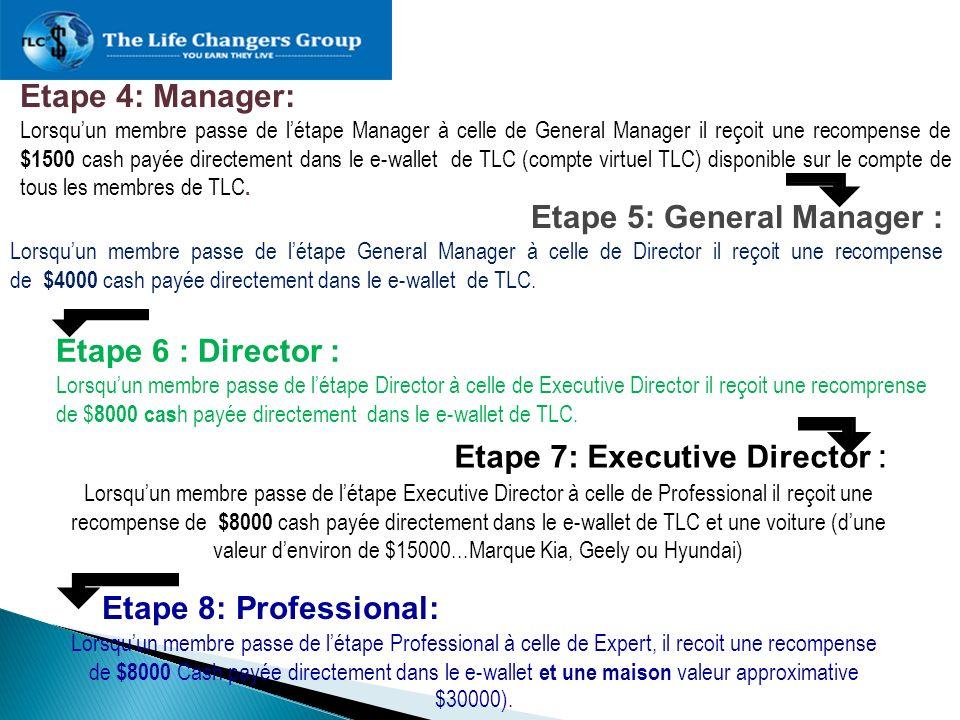 Etape 4: Manager: Lorsquun membre passe de létape Manager à celle de General Manager il reçoit une recompense de $1500 cash payée directement dans le
