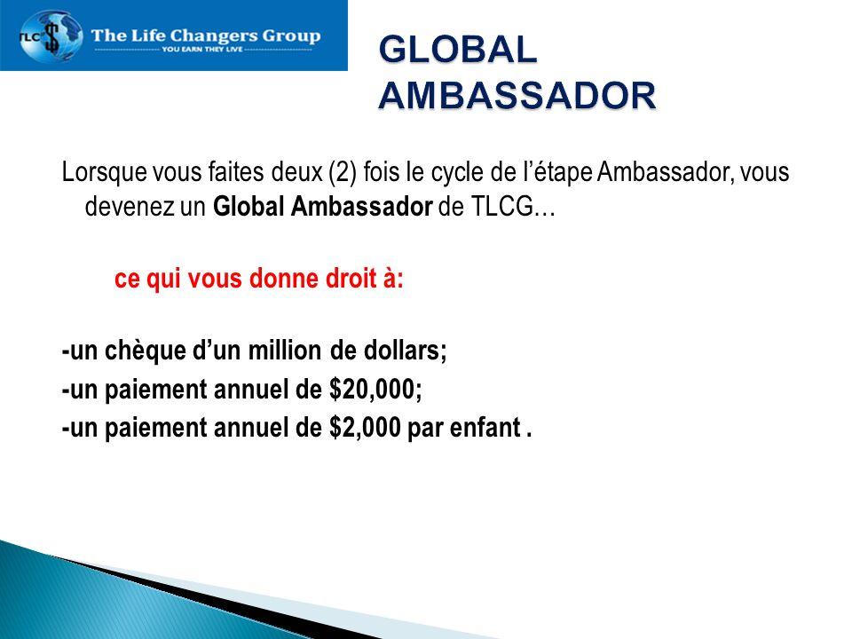 Lorsque vous faites deux (2) fois le cycle de létape Ambassador, vous devenez un Global Ambassador de TLCG… ce qui vous donne droit à: -un chèque dun