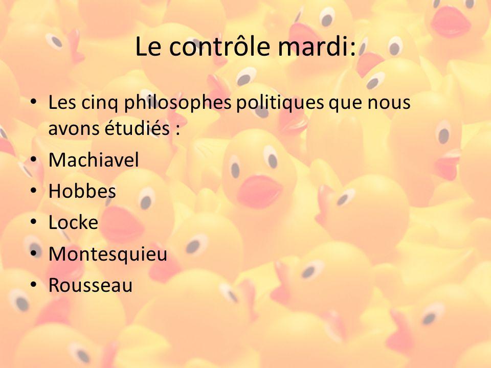 Le contrôle mardi: Les cinq philosophes politiques que nous avons étudiés : Machiavel Hobbes Locke Montesquieu Rousseau