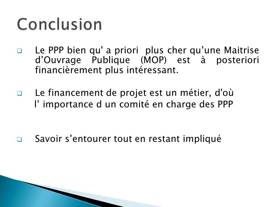Le PPP bien qu a priori plus cher quune Maitrise dOuvrage Publique (MOP) est à posteriori financièrement plus intéressant.