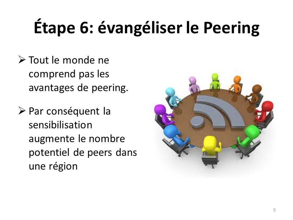 Étape 6: évangéliser le Peering Tout le monde ne comprend pas les avantages de peering.