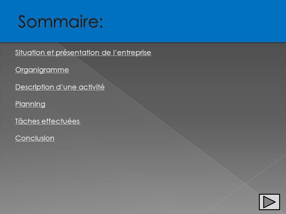 Situation et présentation de lentreprise Organigramme Description dune activité Planning Tâches effectuées Conclusion
