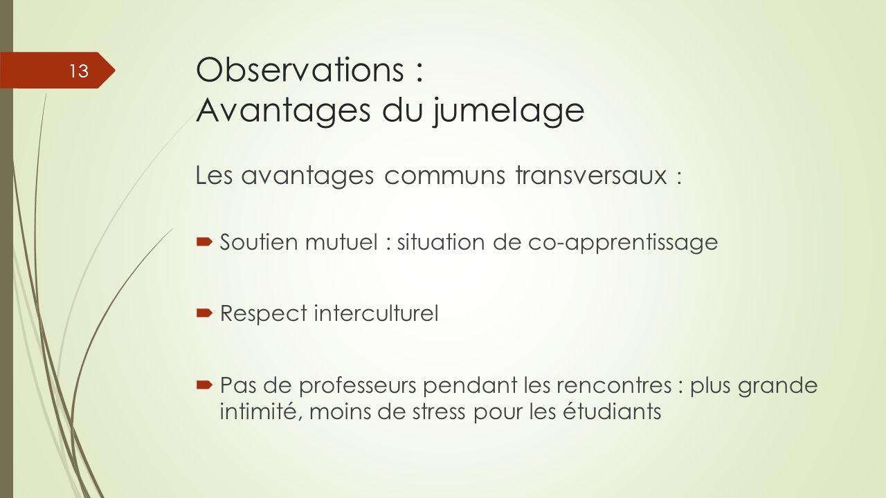 Observations : Avantages du jumelage Les avantages communs transversaux : Soutien mutuel : situation de co-apprentissage Respect interculturel Pas de