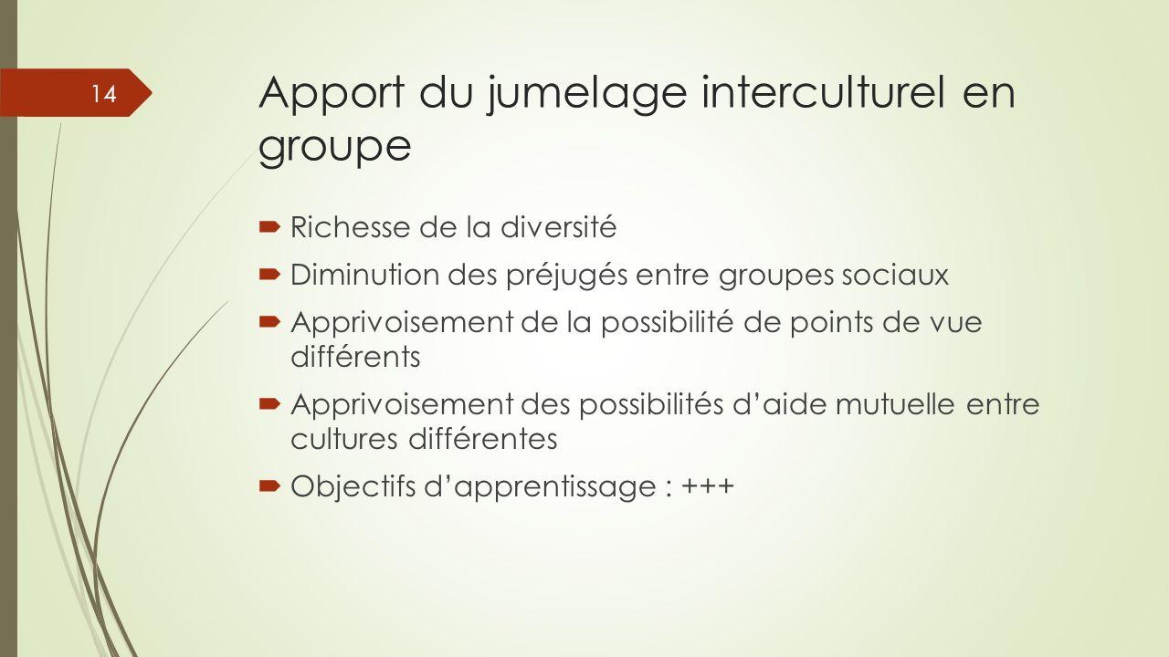 Apport du jumelage interculturel en groupe Richesse de la diversité Diminution des préjugés entre groupes sociaux Apprivoisement de la possibilité de
