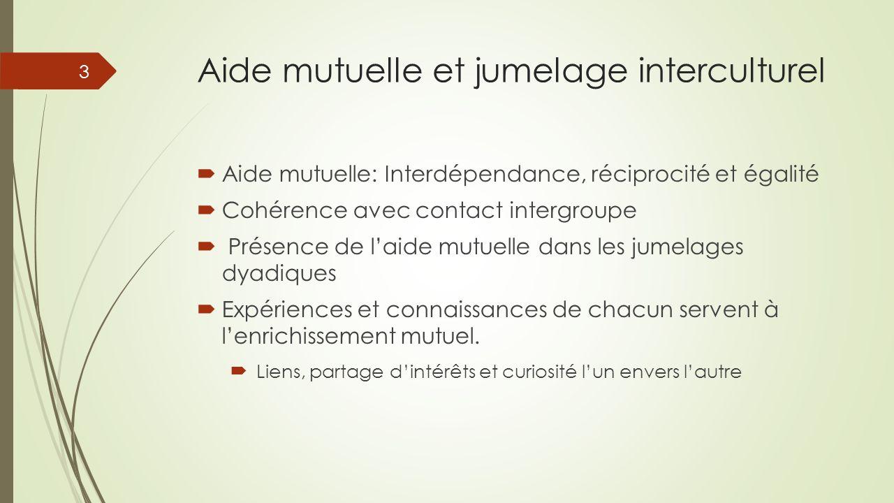Aide mutuelle et jumelage interculturel Aide mutuelle: Interdépendance, réciprocité et égalité Cohérence avec contact intergroupe Présence de laide mu