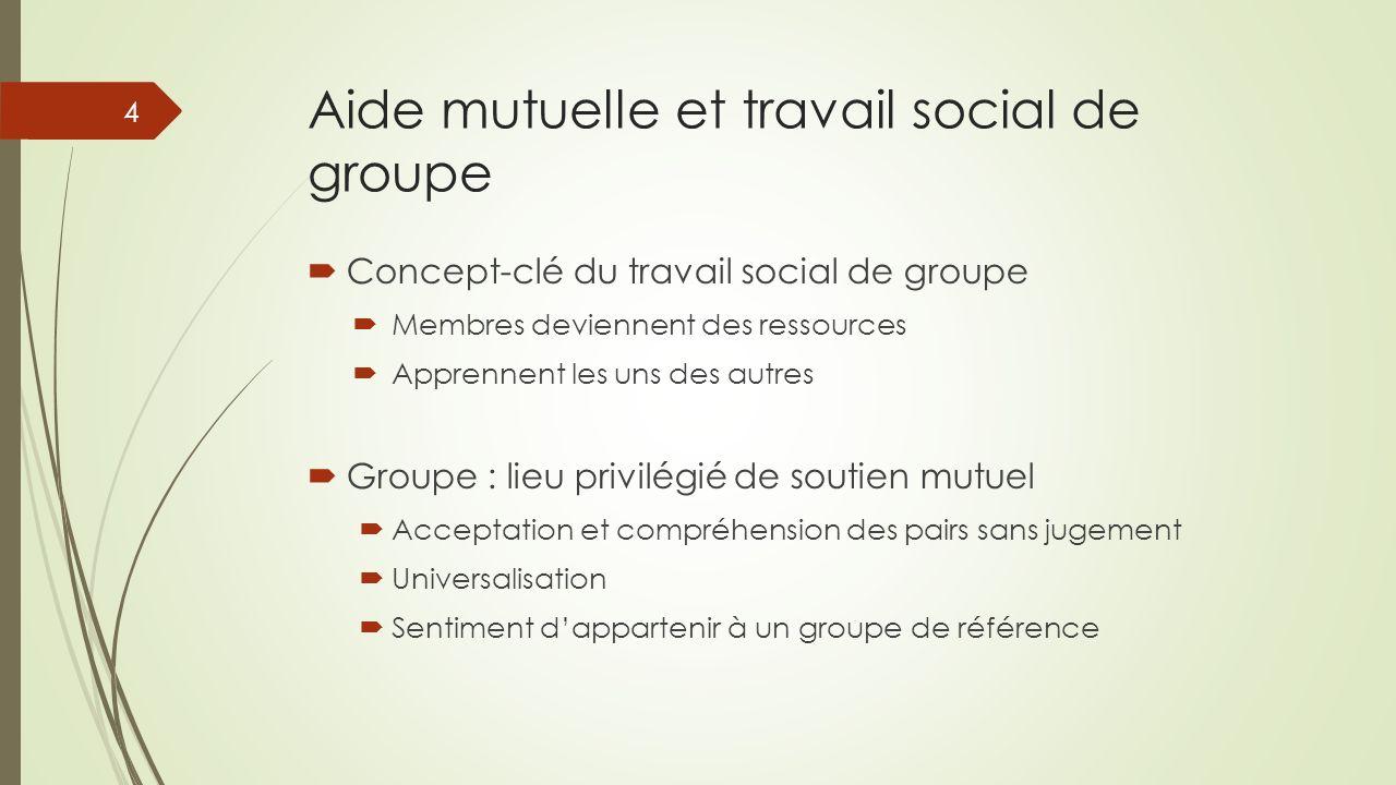 Aide mutuelle et travail social de groupe Concept-clé du travail social de groupe Membres deviennent des ressources Apprennent les uns des autres Grou