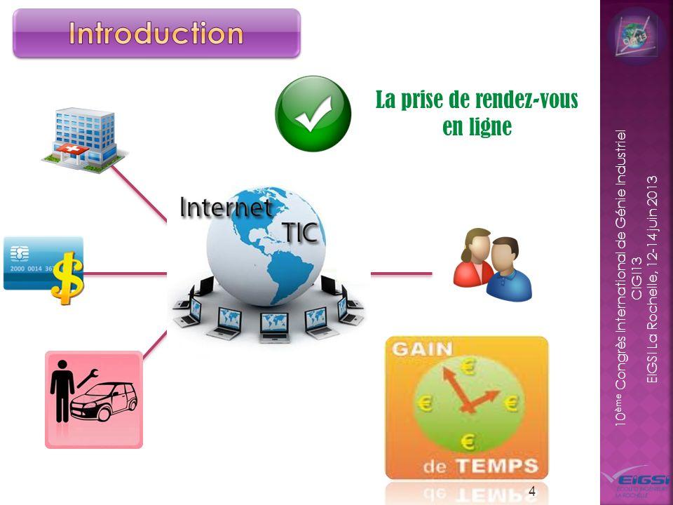 10 ème Congrès International de Génie Industriel CIGI13 EIGSI La Rochelle, 12-14 juin 2013 4 La prise de rendez-vous en ligne