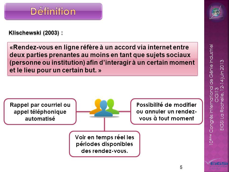 10 ème Congrès International de Génie Industriel CIGI13 EIGSI La Rochelle, 12-14 juin 2013 5 Klischewski (2003) : «Rendez-vous en ligne réfère à un ac