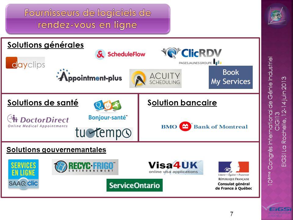 10 ème Congrès International de Génie Industriel CIGI13 EIGSI La Rochelle, 12-14 juin 2013 7 Solutions générales Solutions de santé Solution bancaire