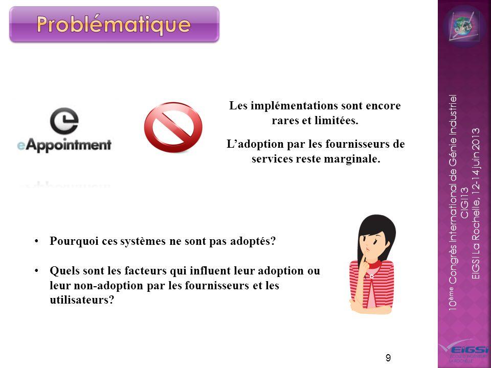10 ème Congrès International de Génie Industriel CIGI13 EIGSI La Rochelle, 12-14 juin 2013 9 Ladoption par les fournisseurs de services reste marginal