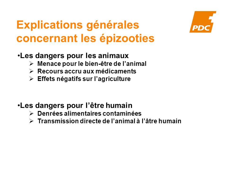 Explications générales concernant les épizooties Les dangers pour les animaux Menace pour le bien-être de lanimal Recours accru aux médicaments Effets