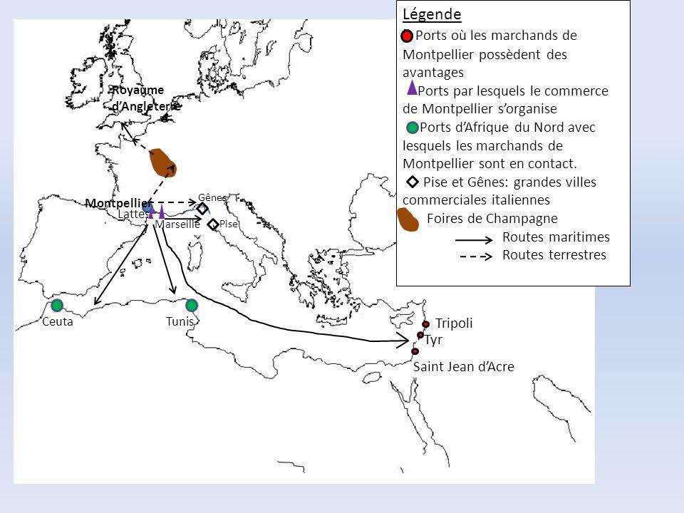 Légende P Ports où les marchands de Montpellier possèdent des avantages Ports par lesquels le commerce de Montpellier sorganise Ports dAfrique du Nord