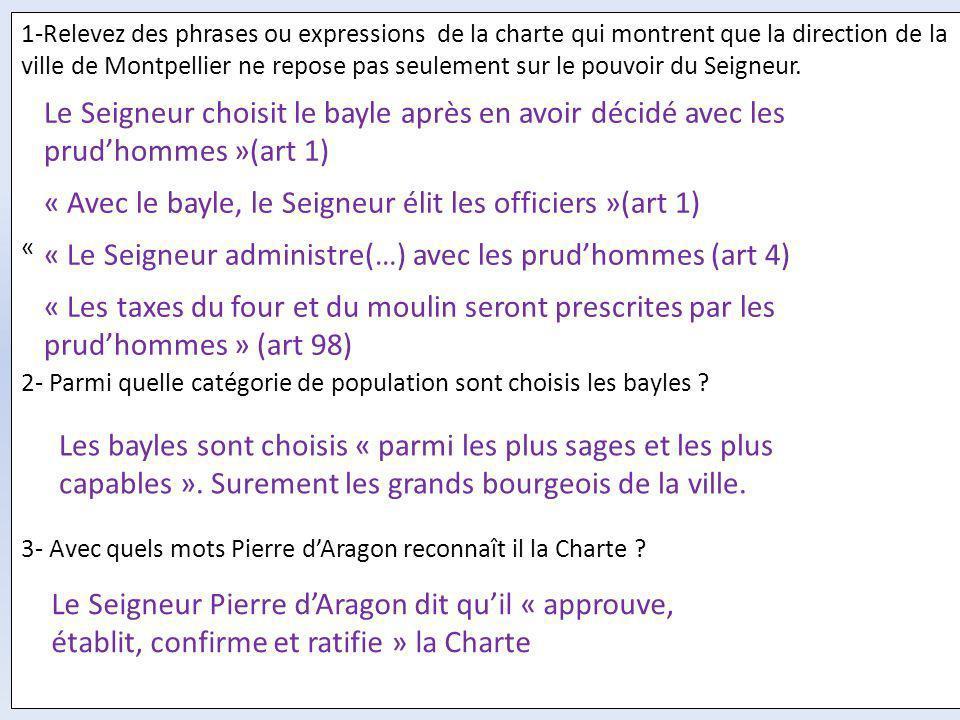 1-Relevez des phrases ou expressions de la charte qui montrent que la direction de la ville de Montpellier ne repose pas seulement sur le pouvoir du S