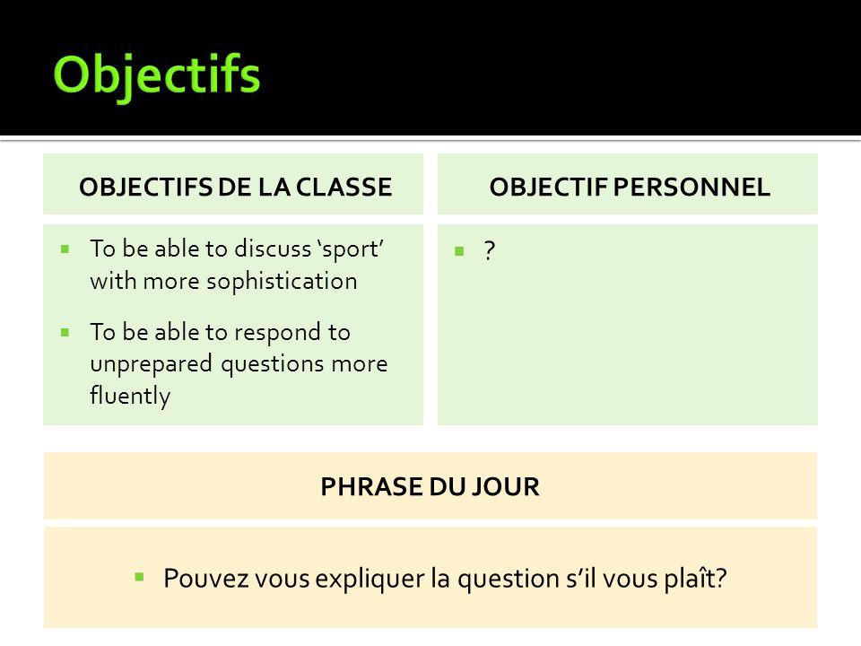 Le sport 10 x sports 6 x opinions 3 x avantages Réponse à la question tu fais du sport?