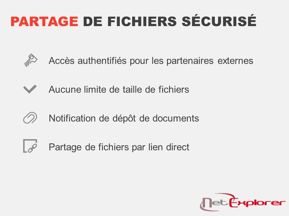PARTAGE DE FICHIERS SÉCURISÉ Accès authentifiés pour les partenaires externes Aucune limite de taille de fichiers Notification de dépôt de documents Partage de fichiers par lien direct