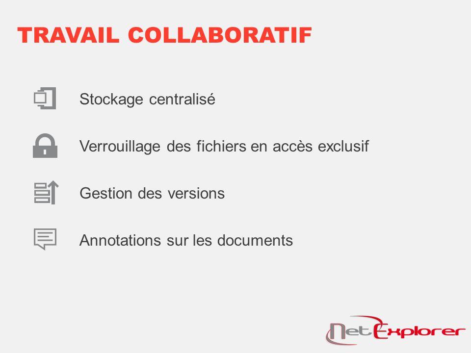 TRAVAIL COLLABORATIF Stockage centralisé Verrouillage des fichiers en accès exclusif Gestion des versions Annotations sur les documents