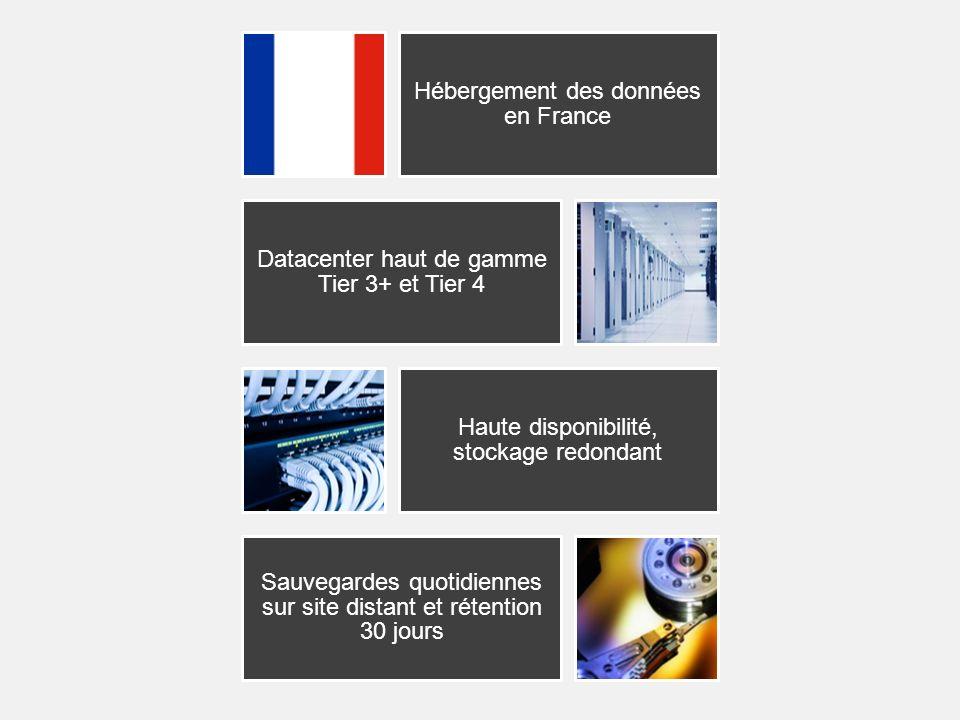 Hébergement des données en France Datacenter haut de gamme Tier 3+ et Tier 4 Haute disponibilité, stockage redondant Sauvegardes quotidiennes sur site distant et rétention 30 jours