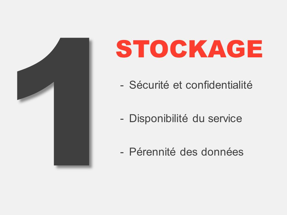 1 STOCKAGE -Sécurité et confidentialité -Disponibilité du service -Pérennité des données