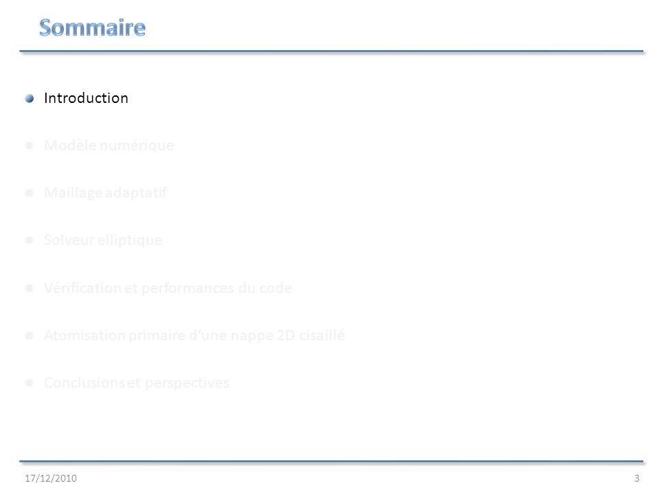 17/12/201034 Résultats des simulations : Faisabilité du calcul (3 10 6 nœuds à la place de 3 10 8, 256 CPUs à la place de 16384) Simulation stable avec viscosités réelles Capture dinstabilités locales (Rayleigh-Taylor, Kelvin-Helmholtz) Formation et cassure de ligaments (distance de rupture x3-4 mm) Formation et maintien dun nuage de gouttelettes (diamètre estimé d=20 μm, les expériences donnent d=40 μm) Question ouverte : Temps de calcul excessif (code explicite, Δt10 -8 s) Atomisation primaire dune nappe 2D cisaillé