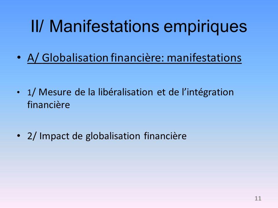II/ Manifestations empiriques A/ Globalisation financière: manifestations 1 / Mesure de la libéralisation et de lintégration financière 2/ Impact de globalisation financière 11
