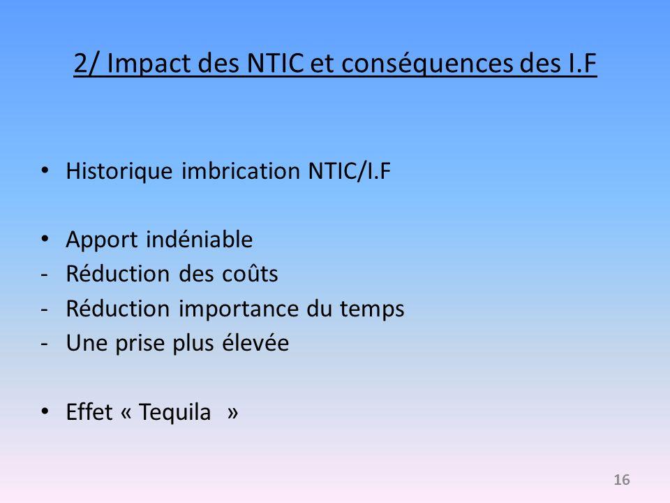 2/ Impact des NTIC et conséquences des I.F Historique imbrication NTIC/I.F Apport indéniable -Réduction des coûts -Réduction importance du temps -Une