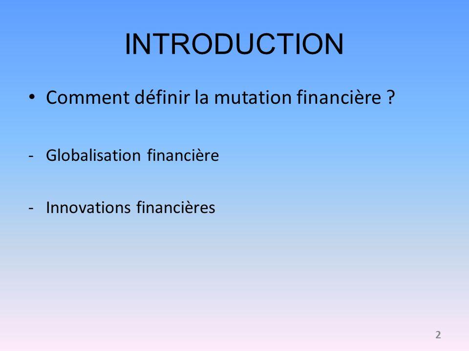 INTRODUCTION (suite) Les pays anglo-saxons à lorigine des mutations financières dans les années 1970 Initiative privée/publique Question : Rôles respectifs des innovations et de la globalisation financière dans la mutation financière .