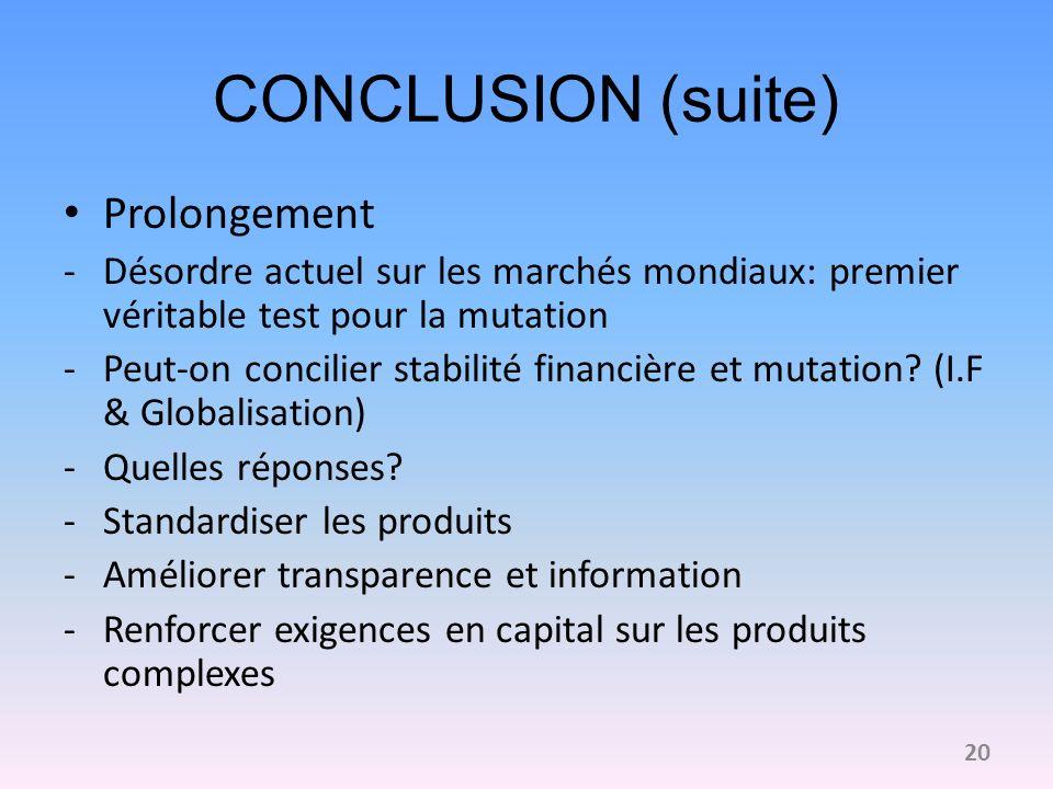 CONCLUSION (suite) Prolongement -Désordre actuel sur les marchés mondiaux: premier véritable test pour la mutation -Peut-on concilier stabilité financ