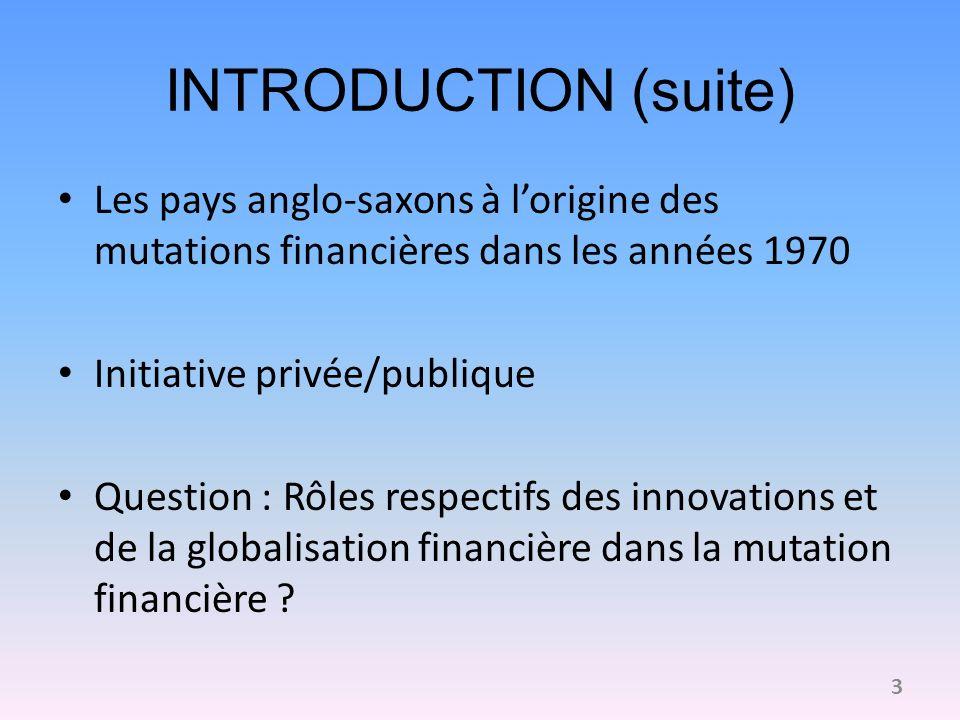 INTRODUCTION (suite) Les pays anglo-saxons à lorigine des mutations financières dans les années 1970 Initiative privée/publique Question : Rôles respe