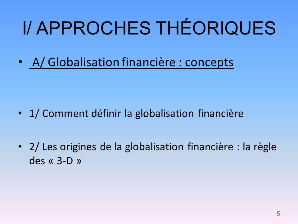 1/ Comment définir la globalisation financière Transformation des systèmes financiers Une interdépendance des systèmes bancaires et financiers renforcée Une intégration croissante des marchés de capitaux 6